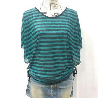 🚚 條紋罩衫 附內搭小背心 精品店清貨 綠色/兩色