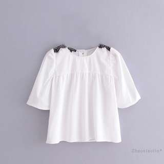 🚚 European and American ruffled shirt blouse shirt