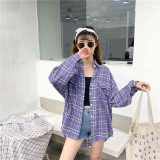 Women Purple Checkered Blouse