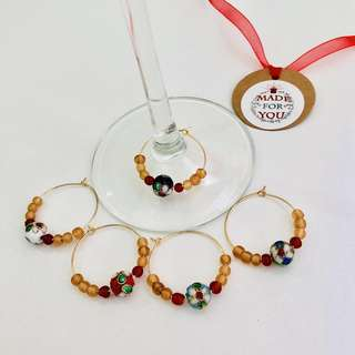 🚚 Cloisonne Wine Glass Charm (set of 5)