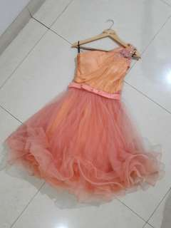 Gaun Pesta Dress Wanita Orange Pastel Size M Premium Quality