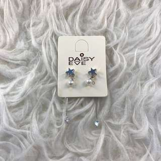 Costume jewlery star pearl stud silver earrings