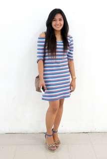 Blue Stripes Off Shoulder Dress