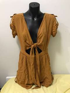Mustard yellow brown romper Playsuit jumpsuit cut out front tie up