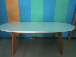 meja oval full white