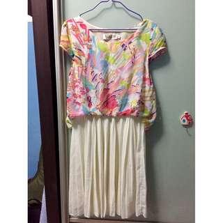 🚚 Multicolor White Dress