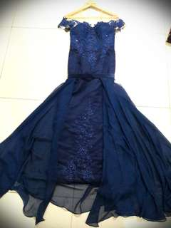 Long Dress Biru Navy Gaun Pesta Sabrina Size M Premium Quality