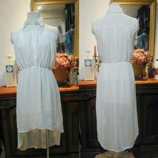 White collared chiffon dress