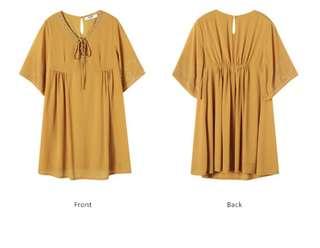 🚚 素色交叉綁帶設計珠飾點綴抓皺造型傘襬雪紡洋裝
