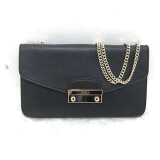 Furla julia long black silver hardware