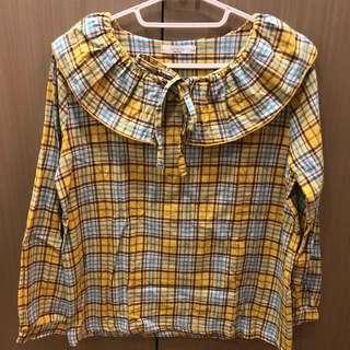 🚚 正韓 大荷葉邊黃色格子薄長袖上衣 棉麻材質