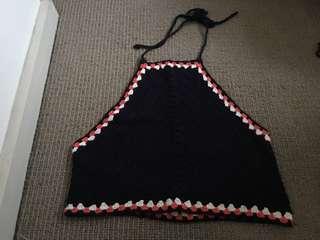 Zara Knit Crotchet High Neck Crop Top