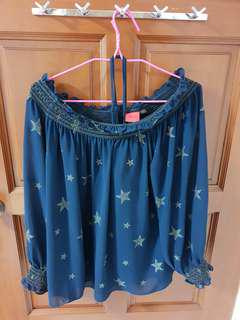 Iroo star blouse navy blue