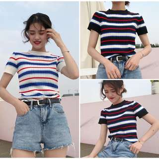 Women Stripe Knit Top 2