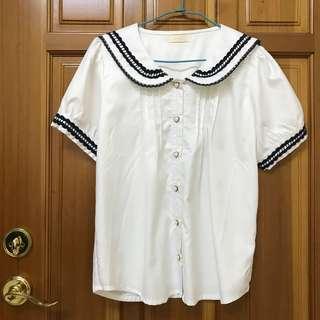 🚚 日本 日系蘿莉塔Lolita軟妹 水手領 白色襯衫