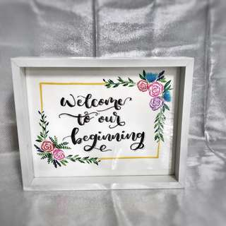 Watercolour calligraphy with floral border