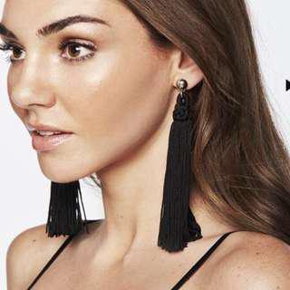 Bardot Black Tassel Earrings