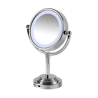 856. Carmen C85001 Battery Operated Dual Sided LED Illuminated Mirror - Silver
