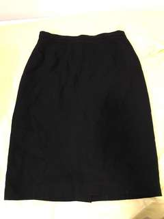 Vintage country road high waisted black pencil skirt