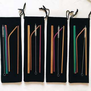 Colored Metal Straw Set