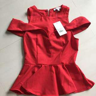 Bnwt Love Bonito Cut Out Shoulder Red XS