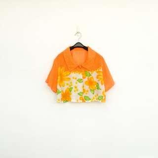 二手 橘黃 印花 短版 襯衫 明太子 620