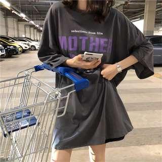 👀韓版下衣失蹤寬鬆印花短袖T恤 男友風 三色可選 女裝上衣 個性 隨性 休閒 中長款