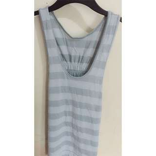 Long gray and silver stripes top