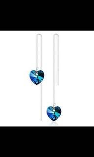 Blue Heart 925 Sterling Silver Women Earrings