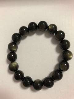 Golden obsidian bracelet 金曜石手链 12mm