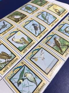 只限一套 1983 古巴 鳥類與花卉 15全 連票 原膠