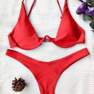 Zaful Red Push Up Bikini