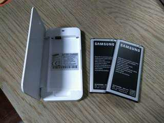 Samsung S5 spare batteries, battery charger, Spigen case
