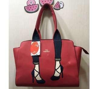 💝出清特價~私物❤️日本 高跟鞋👠包 皮革款 手提包(大)紅