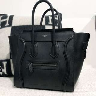 Celine Micro Luggage Black Leather Grained