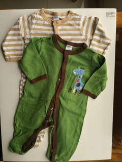 PRELOVED NEXT Set of 2 Green Giraffe and Brown Stripes Baby Sleepsuits - in excellent condition