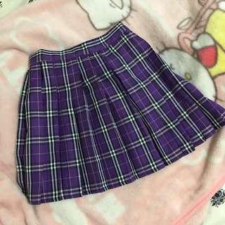 全新!原宿風紫色格紋百褶裙