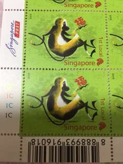 Singapore Stamp year of monkey zodiac 1st local