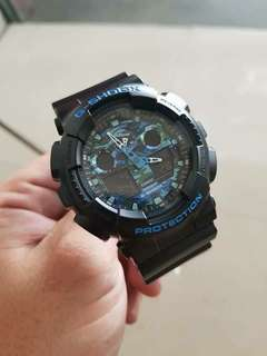 GSHOCK BLACK CAMOUFLAGE BLUE WATCH