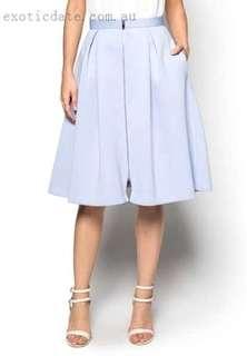 Zalora light blue front zip midi flare skirt xl