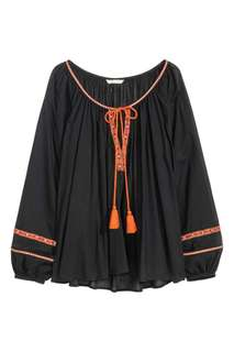 H&M Embroidered Boho / Peasant Longsleeve Top