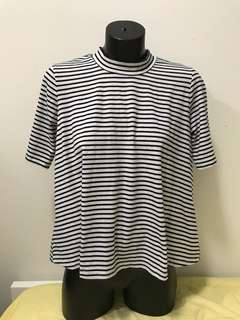 Atmos&here boxy black and white stripe high neck shirt
