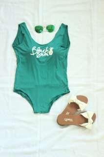 One-piece swimsuit w/ padding (turquoise)