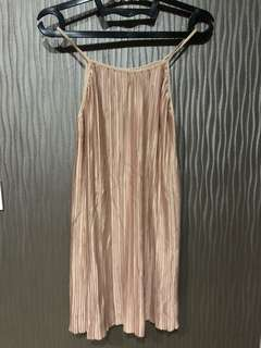 Champagne Pleated Dress