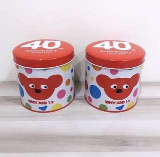 🚚 why and 1/2普普熊40週年紀念限定版糖果罐 圓罐圓桶盒