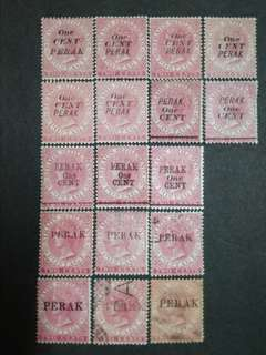 Straits Settlements 1884 1885 Two Cents Overprint Perak One Cent Or Perak - 14v Mint & 3v Used Malaya Stamps