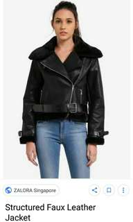 Structured faux leather jacket