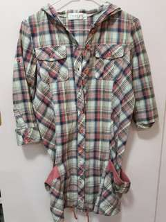 Checkered 3/4 button down dress with hood