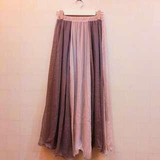 🚚 近全新韓版女神雪紡寬條紋拼接飄逸鬆緊腰圍長裙