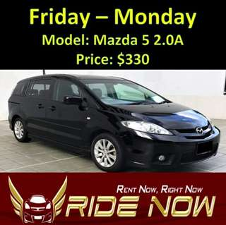 Mazda 5 2.0A Weekend Rental